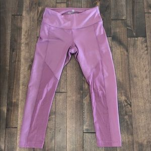 Purple Mesh Cut-out Leggings